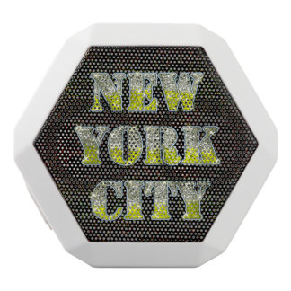 New York City Silver Gold Glitters White Bluetooth Speaker