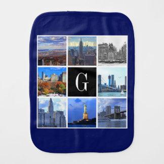 New York City Skyline 8 Image Photo Collage Baby Burp Cloth