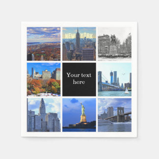 New York City Skyline 8 Image Photo Collage Paper Napkin