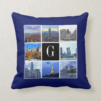 New York City Skyline 8 Image Photo Collage Throw Pillows