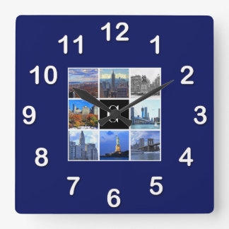 New York City Skyline 8 Image Photo Collage Square Wall Clock
