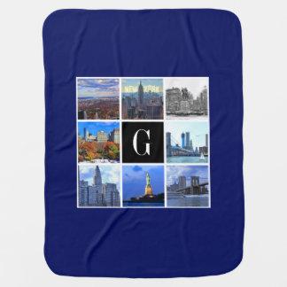 New York City Skyline 8 Image Photo Collage Swaddle Blanket