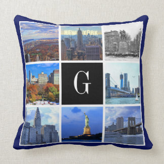 New York City Skyline 8 Image Photo Collage Throw Pillow