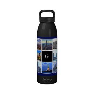 New York City Skyline 8 Image Photo Collage Water Bottle