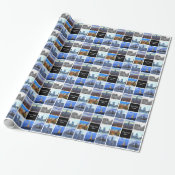 New York City Skyline 8 Image Photo Collage Wrapping Paper