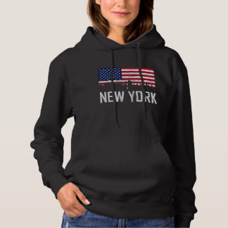 New York City Skyline American Flag Distressed Hoodie