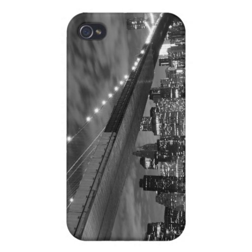 New York City Skyline and Brooklyn Bridge At Night Case For iPhone 4