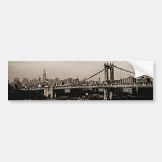 New York City Skyline and Manhattan Bridge Bumper Sticker