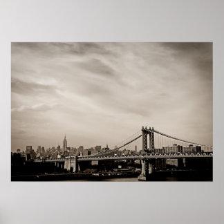 New York City Skyline and Manhattan Bridge Poster