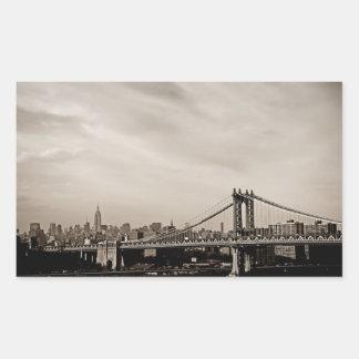New York City Skyline and Manhattan Bridge Rectangle Stickers