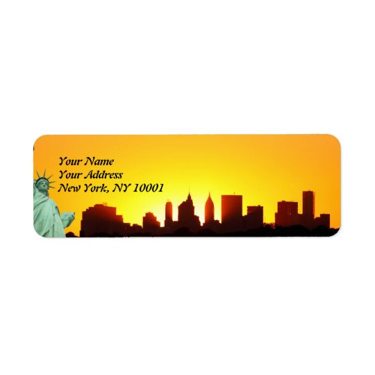 New York City Skyline and The Statue of Liberty Label