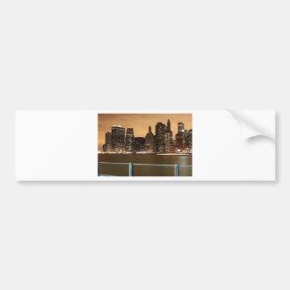 New York City Skyline at Night across the water Bumper Sticker