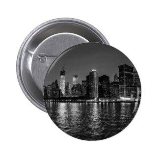 New York City Skyline at Night Pinback Buttons