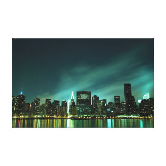 New York City skyline at Night Lights Stretched Canvas Print
