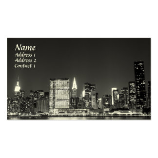 New York City Skyline at Night , Lower Manhattan Double-Sided Standard Business Cards (Pack Of 100)