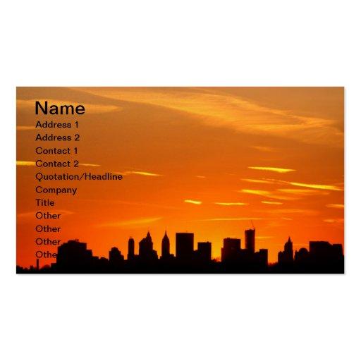 New York City Skyline at Sunset , Lower Manhattan Business Card Templates