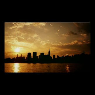 New York City Skyline At Sunset Posters