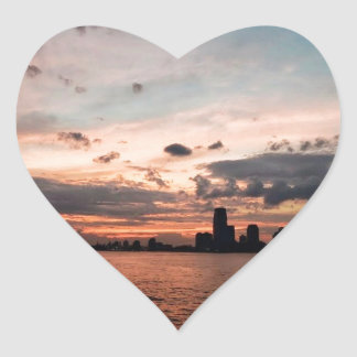 New York City Skyline at Sunset Heart Stickers
