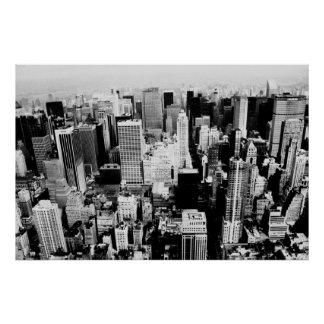 New York City Skyline black and white photo Poster