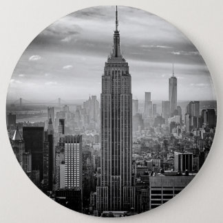 New York City skyline black and white Pinback Button