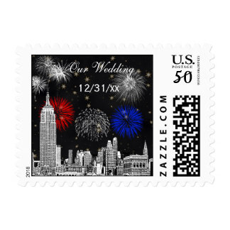 New York City Skyline Black Gold Star Fireworks Postage