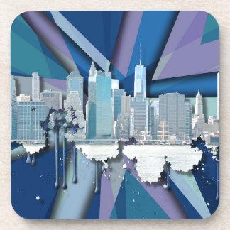 New York City Skyline | Blue 3D Beverage Coaster