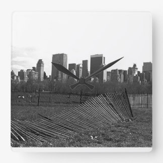 New York City Skyline Central Park, NYC Square Wall Clock