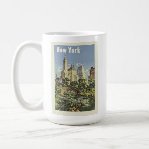 New York City Skyline Central Park Vintage Retro