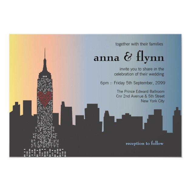 New York City Skyline Cityscape Wedding Invitation | Zazzle