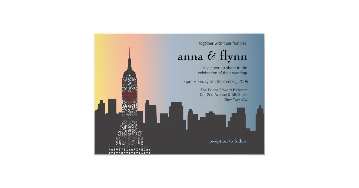 New York City Skyline Cityscape Wedding Invitation Zazzle Com