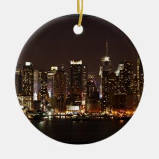 New York City Skyline Double-Sided Ceramic Round Christmas Ornament