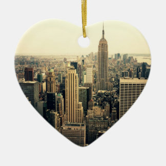 New York City Skyline Double-Sided Heart Ceramic Christmas Ornament