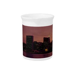New York City Skyline Dusk Manhattan Urban City Drink Pitcher
