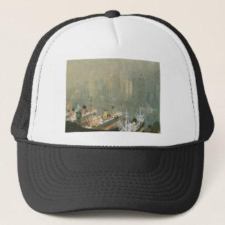 New York City skyline from Brooklyn Harbor, ships Trucker Hat