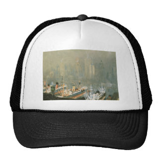 New York City skyline from Brooklyn Harbor, ships Trucker Hat