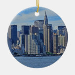 New York City Skyline From the East River A1 Double-Sided Ceramic Round Christmas Ornament