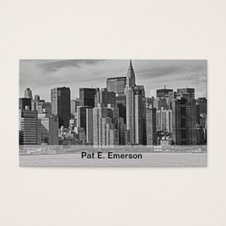 New York City Skyline From the East River B&W Business Card