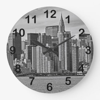 New York City Skyline From the East River B&W Round Wall Clocks