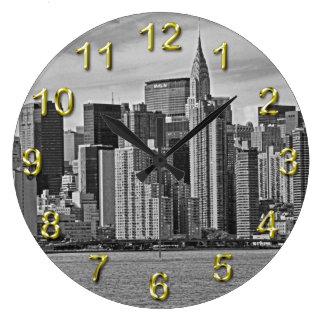 New York City Skyline From the East River B&W Clocks
