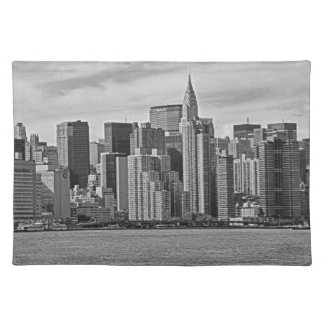 New York City Skyline From the East River B&W Cloth Placemat
