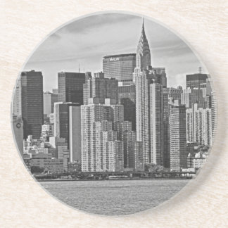 New York City Skyline From the East River B&W Coaster