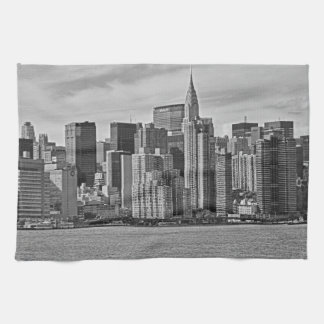 New York City Skyline From the East River B&W Hand Towel