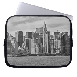 New York City Skyline From the East River B&W Computer Sleeve