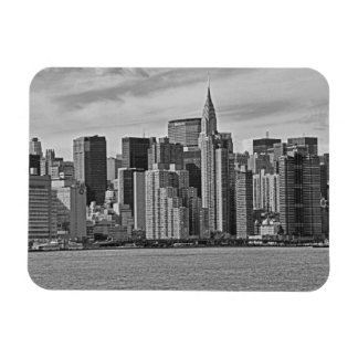 New York City Skyline From the East River B&W Magnet