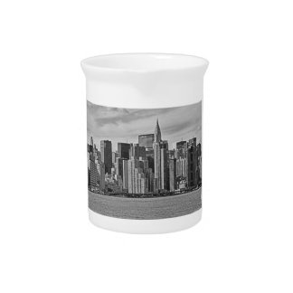 New York City Skyline From the East River B&W Pitcher