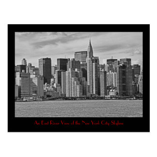 New York City Skyline From the East River B&W Postcard