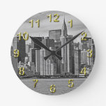 New York City Skyline From the East River B&W Round Clock
