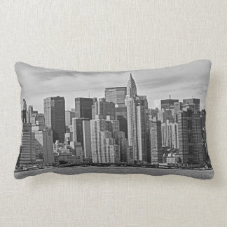 New York City Skyline From the East River B&W Throw Pillow