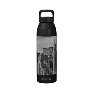 New York City Skyline From the East River B&W Water Bottle
