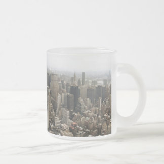 New York City Skyline (Frosted) 10 Oz Frosted Glass Coffee Mug